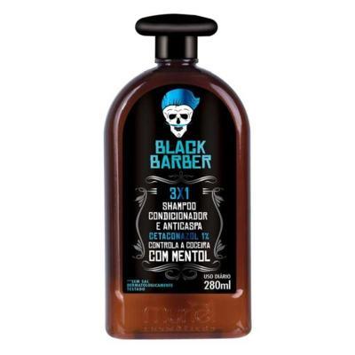 Shampoo para Barba Muriel Black Barber 3x1 Anticaspa 280ml