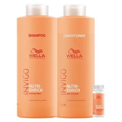 Wella Professionals Invigo Nutri-Enrich Kit - Shampoo + Condicionador + Sérum Reparador - Kit