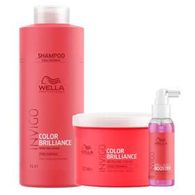 Kit Invigo Color Brilliance Tamanho Profissional Wella - Shampoo + Máscara + Booster - Kit