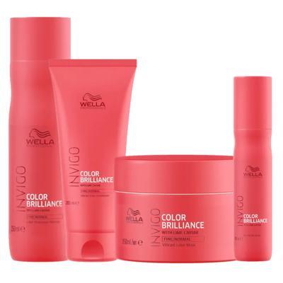 Kit Invigo Color Brilliance Wella - Shampooo + Condicionador + Máscara + Leave-in - Kit