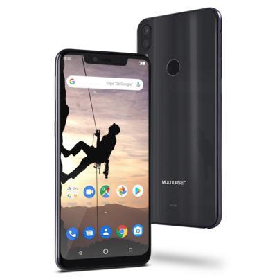 """Smartphone Multilaser MS80X 4G Android 8.1 Qualcomm 4GB RAM e 64GB Tela 6,2""""HD Câm Traseira 12MP+5MP Cam Frontal 16MP Dourado/Preto - P9088 - NB743 Copy"""