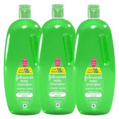 Imagem 1 do produto Leve 3 Shampoos para Cabelos Claros Johnson Baby - Kit