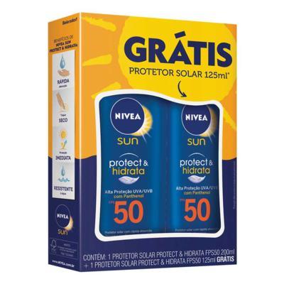 Imagem 1 do produto Protetor Solar Nivea Sun Protect & Hidrata FPS 50 200ml + Grátis Protetor Solar Nivea Sun Protect & Hidrata FPS 50 125ml