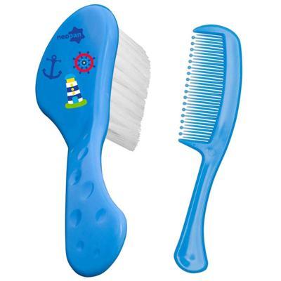 Imagem 1 do produto Conjunto Escova e Pente Neopan Azul Estampas Sortidas Ref 7201