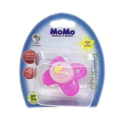 Imagem 1 do produto Chupeta Momo Brilha no Escuro Silicone Ortodôntico Rosa 0 - 6 meses Tam 1