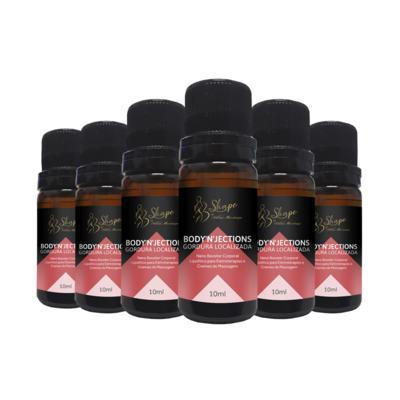 Body'n'Jections Firmeza & Tônus - Nano Booster Corporal Firmador e Tensor para Eletroterapias e Cremes de Massagem - - 6 frascos de 10ml cada