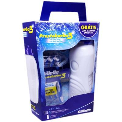 Kit Aparelho de Barbear Gillette Prestobarba 3 Cool 4 Unidades + Grátis Garrafa