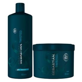 Kit Twisted Elastic Detangler Sebastian - Shampoo + Máscara - Tamanho Profissional - Kit