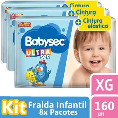 Imagem 1 do produto Kit Fralda Babysec Galinha Pintadinha Ultrasec Jumbo XG 160 unidades