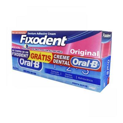 Creme Fixador de Dentaduras Fixodent Original - 68g + grátis, creme dental Oral B, 68g