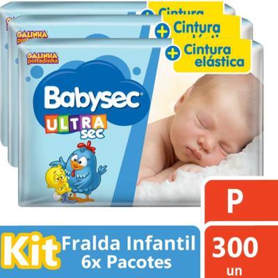 Imagem 1 do produto Kit Fralda Babysec Galinha Pintadinha Ultrasec Mega P 300 Unidades
