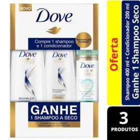 Kit Dove Shampo + Condicionador - Reconstrução Completa | 3 unidades | Gratis1 Shampoo a Seco