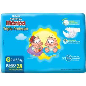 Fralda Huggies Turma da Mônica Tripla Proteção - G | 28 unidades