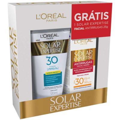 Protetor Solar L'Oréal - Expertise Supreme Protect 4 - FPS 30 | 2 itens | FPS 30 com 120mL + protetor solar Expertise antirrugas, FPS 30 com 25g