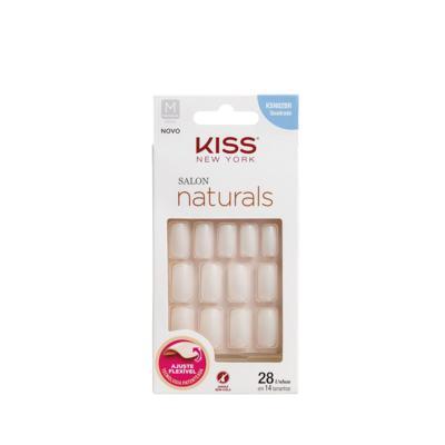 Unhas Kiss Salon Naturals Quadrada Medio - C/28  Unidades   KSN02BR