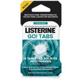Enxaguatório Bucal em Tablets Listerine Go! Tabs - Clean Mint | 4 unidades