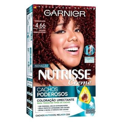 Coloração Garnier Nutrisse Creme Cachos Poderosos - 4.66 Castanho Vermelho Intenso | 1 unidade