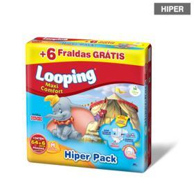 Fralda Looping Maxi Comfort Hiper - M | 64 unidades | Gratis +6
