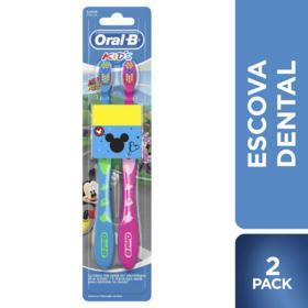 Escova Dental Oral-B Kids - Mickey e Minnie Macia   2 unidades