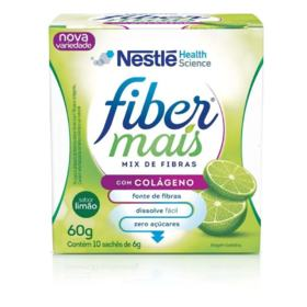 Fibra Alimentar FiberMais Mix de Fibras com Colágeno - Sabor Limão | 10 saches de 6g