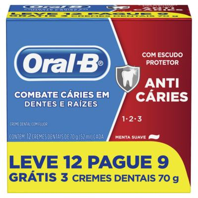 Creme Dental Oral-B 123 Anti Caries - Menta Suave | 70g | Leve 12 Pague 9