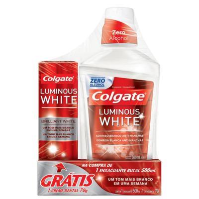 Enxaguante Bucal Colgate - Luminous White | 500ml | + Grátis Creme Dental Luminous White 70g