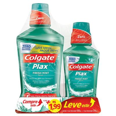 Enxaguante Bucal Colgate Plax - Fresh Mint | Leve 500ml Pague 350ml + 250ml Por 1,99