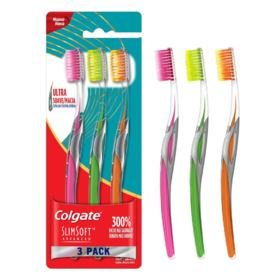 Escova Dental Colgate Slim Soft Advanced - Ultra Suave | Pack 3 unidades