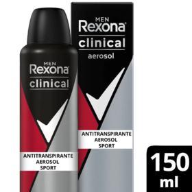 Desodorante Aerosol Antitranspirante Rexona Men Clinical - Sport | 150ml