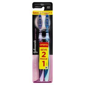 Escova Dental Johnson's Reach Comfort Clean - cerda média   2 unidades   leve 2 pague 1