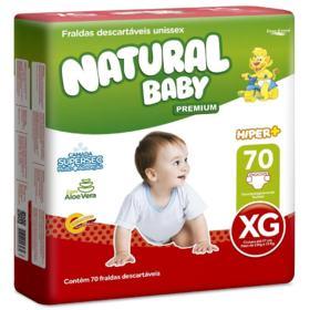 Fralda Descartável Natural Baby Hiper - Tamanho XG | 70 unidades