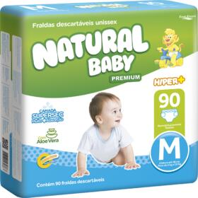 Fralda Descartável Natural Baby Premium - Hiper Tamanho M   90 unidades