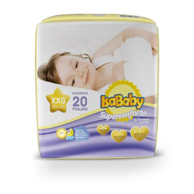 Fralda Descartável Isababy Premium - Tamanho XXG   20 Unidades