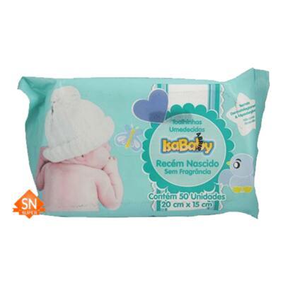Toalhas Umedecidas IsaBaby - recém nascido, sem fragrância | 50 unidades