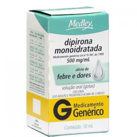 Dipirona Monoidratada 500mg/ml Solução Oral Gotas 10ml Generico Medley