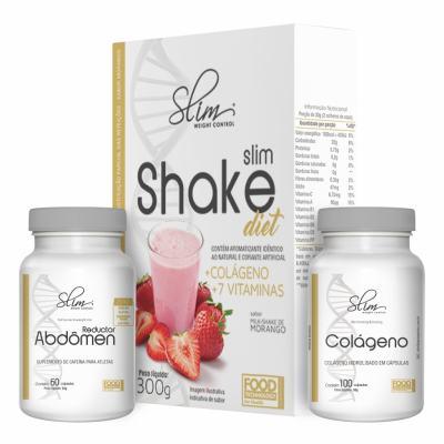 kit Slim Shake Diet Morango 300g + Reductor abdômen 60 caps + Colágeno 100 caps - Slim -