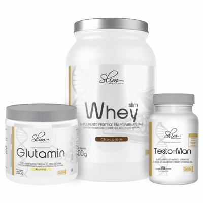 Kit Slim Whey Chocolate 900g + 01 Testo-man 60 Cáps + 01 Glutamin 250g - Slim -