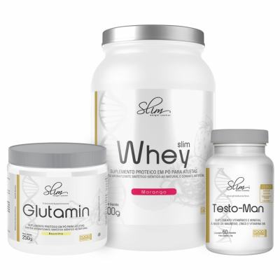 Kit Slim Whey Morango 900g + 01 Testo-man 60 Cáps + 01 Glutamin 250g - Slim -
