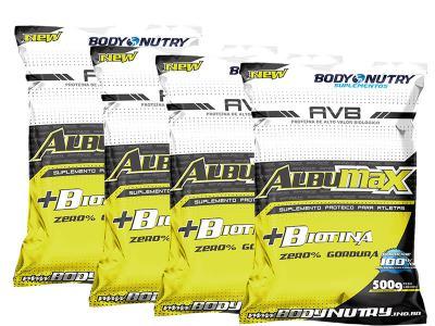 Combo 4 Albumax + Biotina 500g Morango - Body Nutry - Combo
