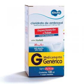 Cloridrato de Ambroxol 30mg Xarope Sem Açúcar 120ml Generico Ems