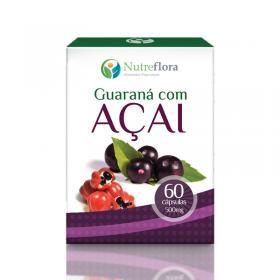 Guaraná com Açai - 500 mg - 60 cápsulas - Nutreflora -